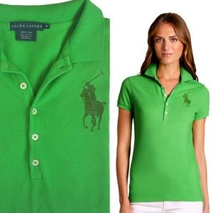 Ralph Lauren blue label crystal big pony Polo top
